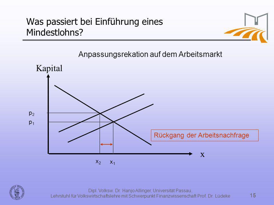 Dipl. Volksw. Dr. Hanjo Allinger, Universität Passau, Lehrstuhl für Volkswirtschaftslehre mit Schwerpunkt Finanzwissenschaft Prof. Dr. Lüdeke 15 Was p
