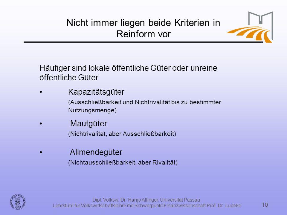 Dipl. Volksw. Dr. Hanjo Allinger, Universität Passau, Lehrstuhl für Volkswirtschaftslehre mit Schwerpunkt Finanzwissenschaft Prof. Dr. Lüdeke 10 Nicht