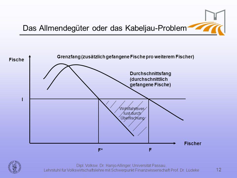 Dipl. Volksw. Dr. Hanjo Allinger, Universität Passau, Lehrstuhl für Volkswirtschaftslehre mit Schwerpunkt Finanzwissenschaft Prof. Dr. Lüdeke 12 Das A