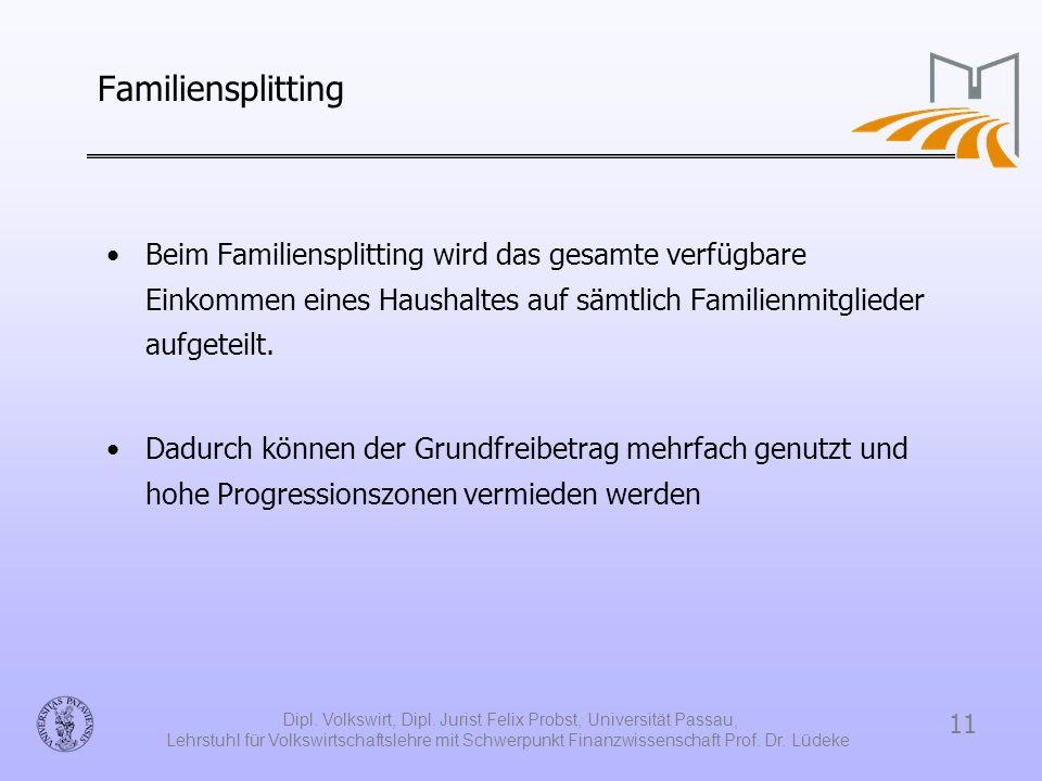 11 Dipl. Volkswirt, Dipl. Jurist Felix Probst, Universität Passau, Lehrstuhl für Volkswirtschaftslehre mit Schwerpunkt Finanzwissenschaft Prof. Dr. Lü