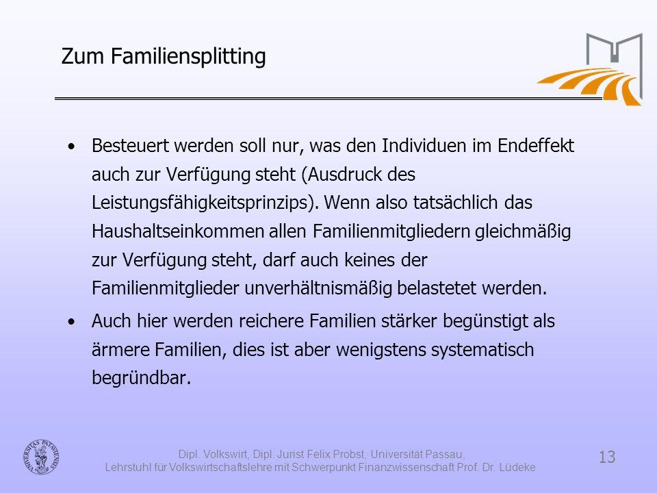 13 Dipl. Volkswirt, Dipl. Jurist Felix Probst, Universität Passau, Lehrstuhl für Volkswirtschaftslehre mit Schwerpunkt Finanzwissenschaft Prof. Dr. Lü