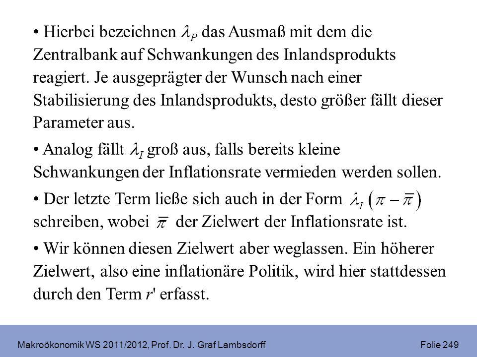 Makroökonomik WS 2011/2012, Prof. Dr. J. Graf Lambsdorff Folie 249 Hierbei bezeichnen P das Ausmaß mit dem die Zentralbank auf Schwankungen des Inland