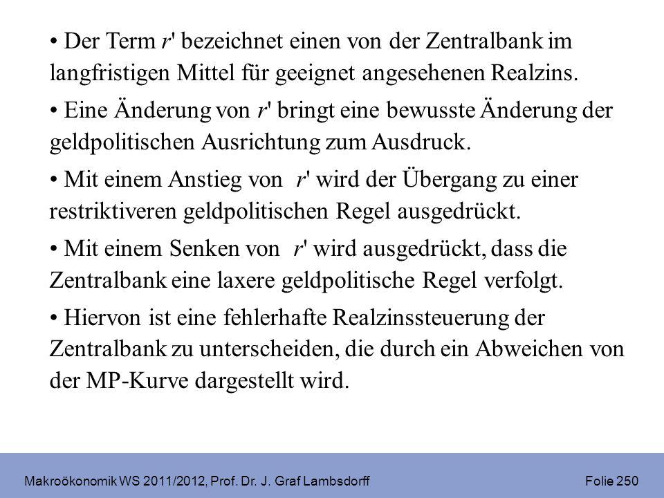 Makroökonomik WS 2011/2012, Prof. Dr. J. Graf Lambsdorff Folie 250 Der Term r' bezeichnet einen von der Zentralbank im langfristigen Mittel für geeign