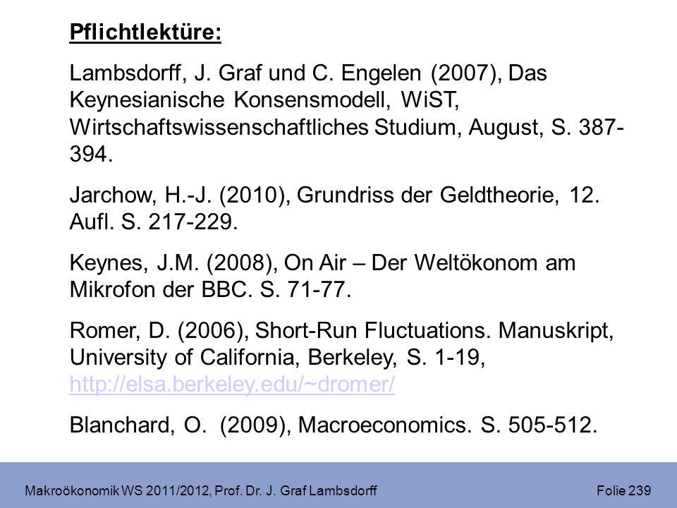 Makroökonomik WS 2011/2012, Prof. Dr. J. Graf Lambsdorff Folie 239 Pflichtlektüre: Lambsdorff, J. Graf und C. Engelen (2007), Das Keynesianische Konse