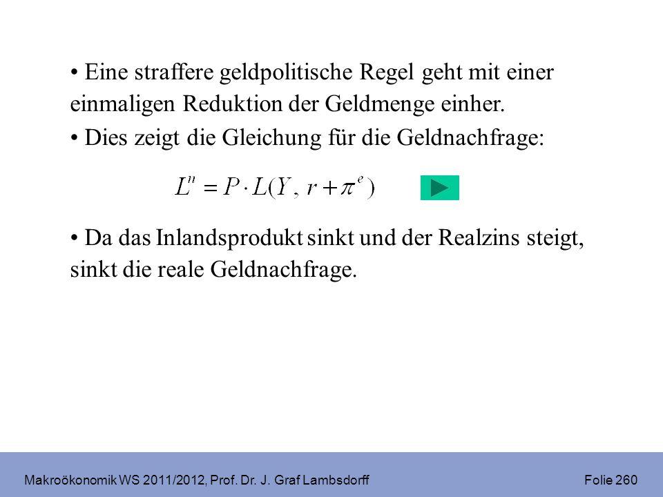 Makroökonomik WS 2011/2012, Prof. Dr. J. Graf Lambsdorff Folie 260 Eine straffere geldpolitische Regel geht mit einer einmaligen Reduktion der Geldmen