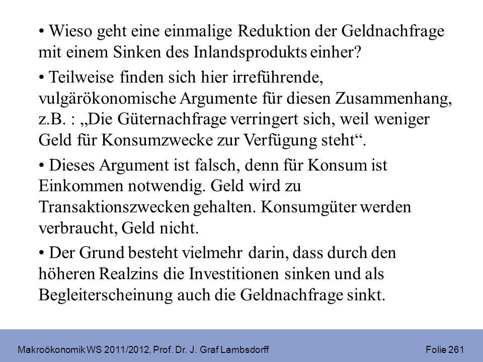 Makroökonomik WS 2011/2012, Prof. Dr. J. Graf Lambsdorff Folie 261 Wieso geht eine einmalige Reduktion der Geldnachfrage mit einem Sinken des Inlandsp