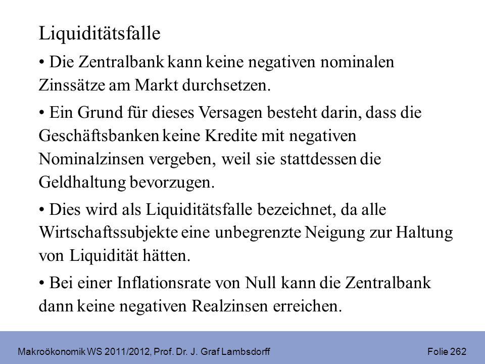 Makroökonomik WS 2011/2012, Prof. Dr. J. Graf Lambsdorff Folie 262 Liquiditätsfalle Die Zentralbank kann keine negativen nominalen Zinssätze am Markt