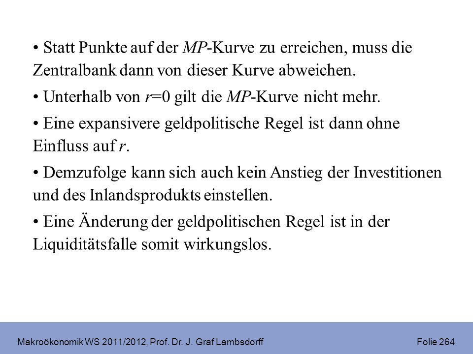 Makroökonomik WS 2011/2012, Prof. Dr. J. Graf Lambsdorff Folie 264 Statt Punkte auf der MP-Kurve zu erreichen, muss die Zentralbank dann von dieser Ku
