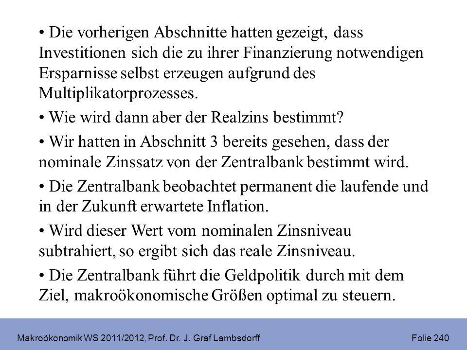Makroökonomik WS 2011/2012, Prof. Dr. J. Graf Lambsdorff Folie 240 Die vorherigen Abschnitte hatten gezeigt, dass Investitionen sich die zu ihrer Fina