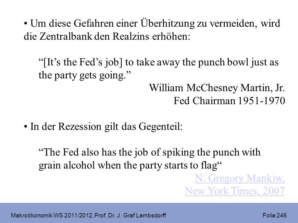 Makroökonomik WS 2011/2012, Prof. Dr. J. Graf Lambsdorff Folie 246 Um diese Gefahren einer Überhitzung zu vermeiden, wird die Zentralbank den Realzins