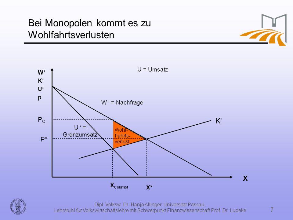 Dipl. Volksw. Dr. Hanjo Allinger, Universität Passau, Lehrstuhl für Volkswirtschaftslehre mit Schwerpunkt Finanzwissenschaft Prof. Dr. Lüdeke 7 Bei Mo