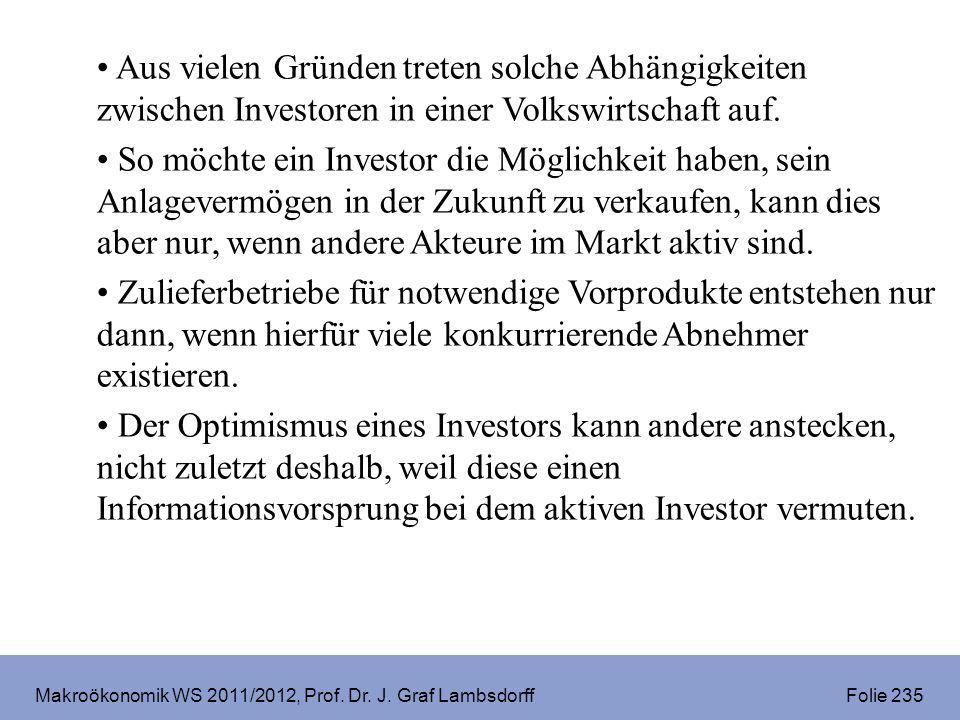 Makroökonomik WS 2011/2012, Prof. Dr. J. Graf Lambsdorff Folie 235 Aus vielen Gründen treten solche Abhängigkeiten zwischen Investoren in einer Volksw