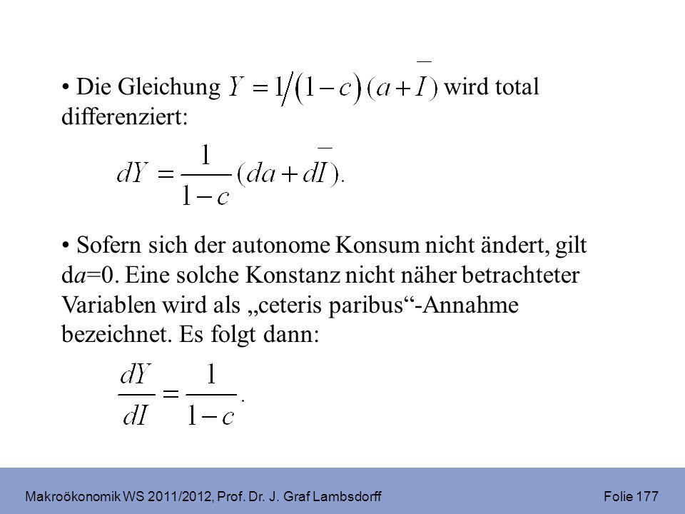 Makroökonomik WS 2011/2012, Prof. Dr. J. Graf Lambsdorff Folie 177 Die Gleichung wird total differenziert: Sofern sich der autonome Konsum nicht änder