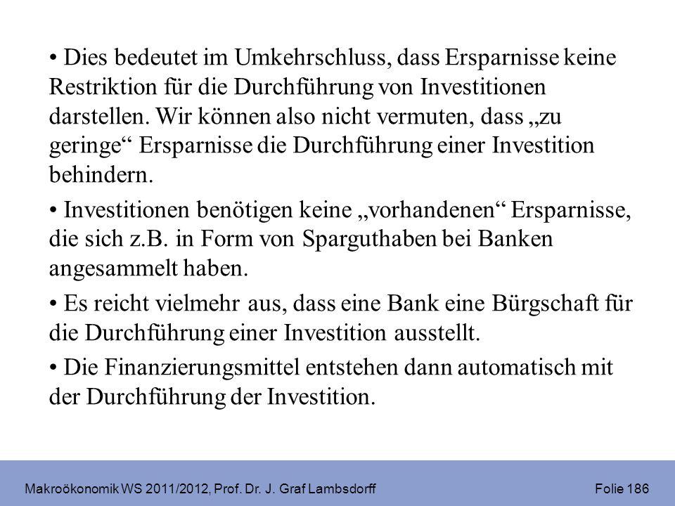 Makroökonomik WS 2011/2012, Prof. Dr. J. Graf Lambsdorff Folie 186 Dies bedeutet im Umkehrschluss, dass Ersparnisse keine Restriktion für die Durchfüh