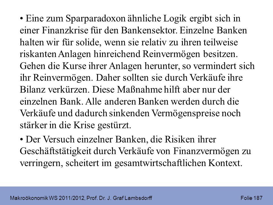 Makroökonomik WS 2011/2012, Prof. Dr. J. Graf Lambsdorff Folie 187 Eine zum Sparparadoxon ähnliche Logik ergibt sich in einer Finanzkrise für den Bank
