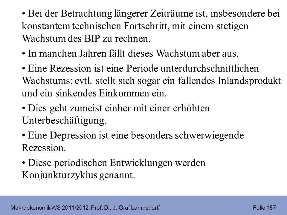 Makroökonomik WS 2011/2012, Prof. Dr. J. Graf Lambsdorff Folie 157 Bei der Betrachtung längerer Zeiträume ist, insbesondere bei konstantem technischen