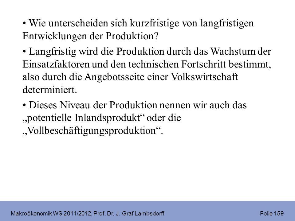 Makroökonomik WS 2011/2012, Prof. Dr. J. Graf Lambsdorff Folie 159 Wie unterscheiden sich kurzfristige von langfristigen Entwicklungen der Produktion?