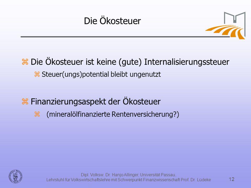 Dipl. Volksw. Dr. Hanjo Allinger, Universität Passau, Lehrstuhl für Volkswirtschaftslehre mit Schwerpunkt Finanzwissenschaft Prof. Dr. Lüdeke 12 Die Ö