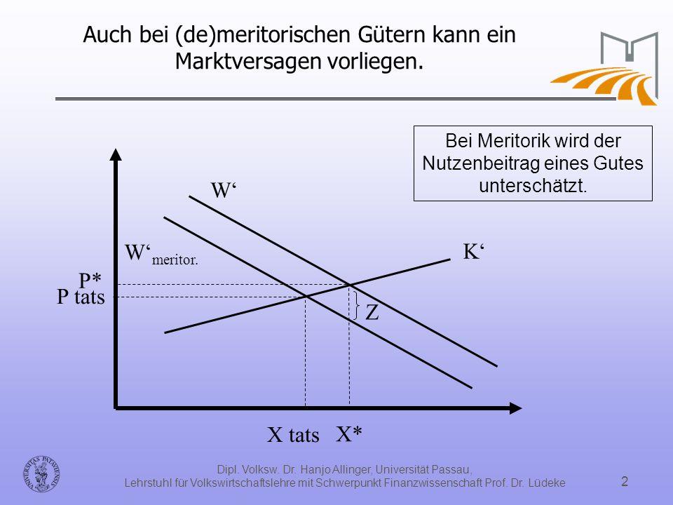 Dipl. Volksw. Dr. Hanjo Allinger, Universität Passau, Lehrstuhl für Volkswirtschaftslehre mit Schwerpunkt Finanzwissenschaft Prof. Dr. Lüdeke 2 Auch b