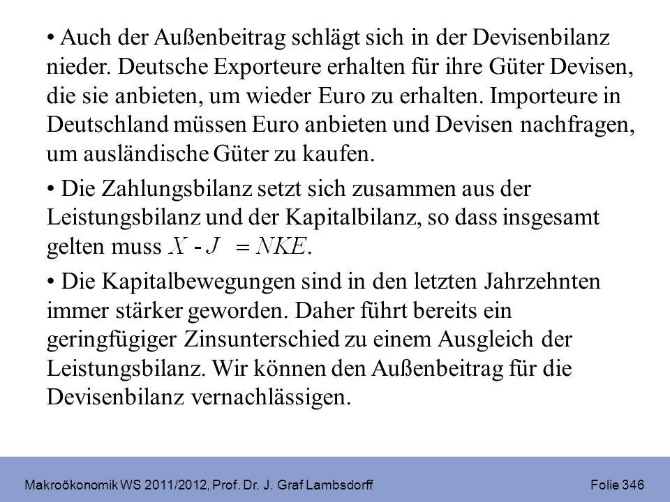 Makroökonomik WS 2011/2012, Prof. Dr. J. Graf Lambsdorff Folie 346 Auch der Außenbeitrag schlägt sich in der Devisenbilanz nieder. Deutsche Exporteure