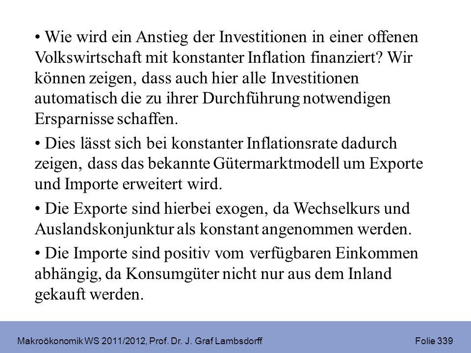 Makroökonomik WS 2011/2012, Prof. Dr. J. Graf Lambsdorff Folie 339 Wie wird ein Anstieg der Investitionen in einer offenen Volkswirtschaft mit konstan