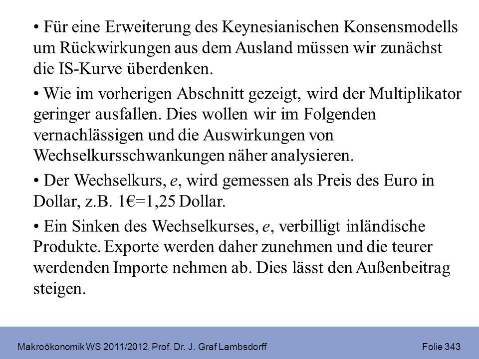 Makroökonomik WS 2011/2012, Prof. Dr. J. Graf Lambsdorff Folie 343 Für eine Erweiterung des Keynesianischen Konsensmodells um Rückwirkungen aus dem Au