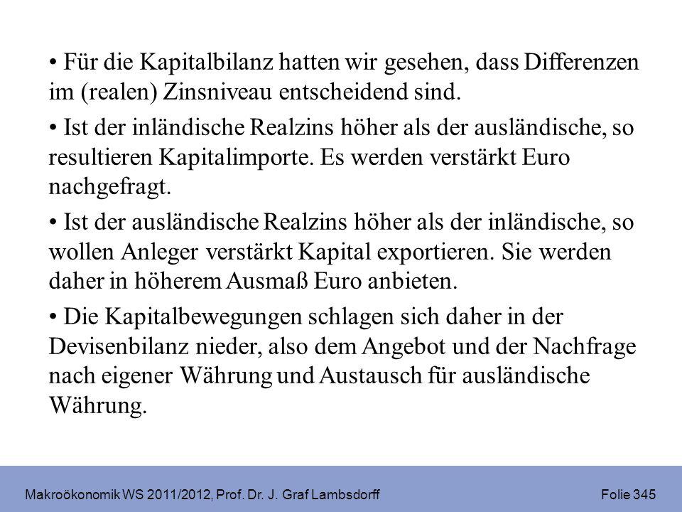 Makroökonomik WS 2011/2012, Prof. Dr. J. Graf Lambsdorff Folie 345 Für die Kapitalbilanz hatten wir gesehen, dass Differenzen im (realen) Zinsniveau e