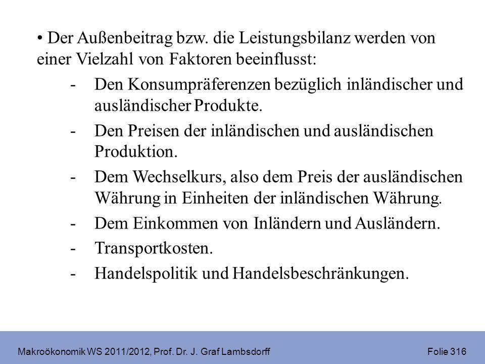 Makroökonomik WS 2011/2012, Prof. Dr. J. Graf Lambsdorff Folie 327 USA 2008 17% 18% 70 % -5 %