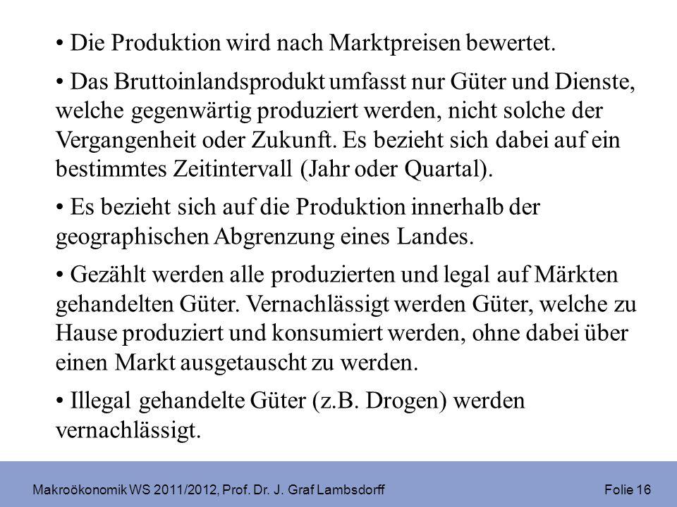 Makroökonomik WS 2011/2012, Prof.Dr. J. Graf Lambsdorff Folie 37 Die Unternehmen erzielen Gewinne.