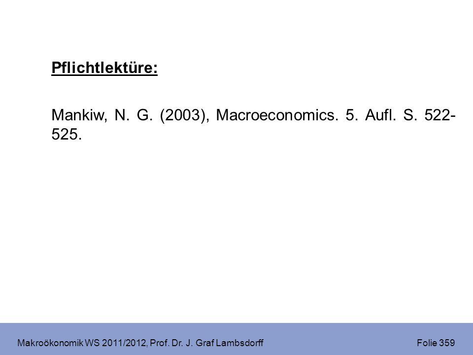 Makroökonomik WS 2011/2012, Prof. Dr. J. Graf Lambsdorff Folie 359 Pflichtlektüre: Mankiw, N.