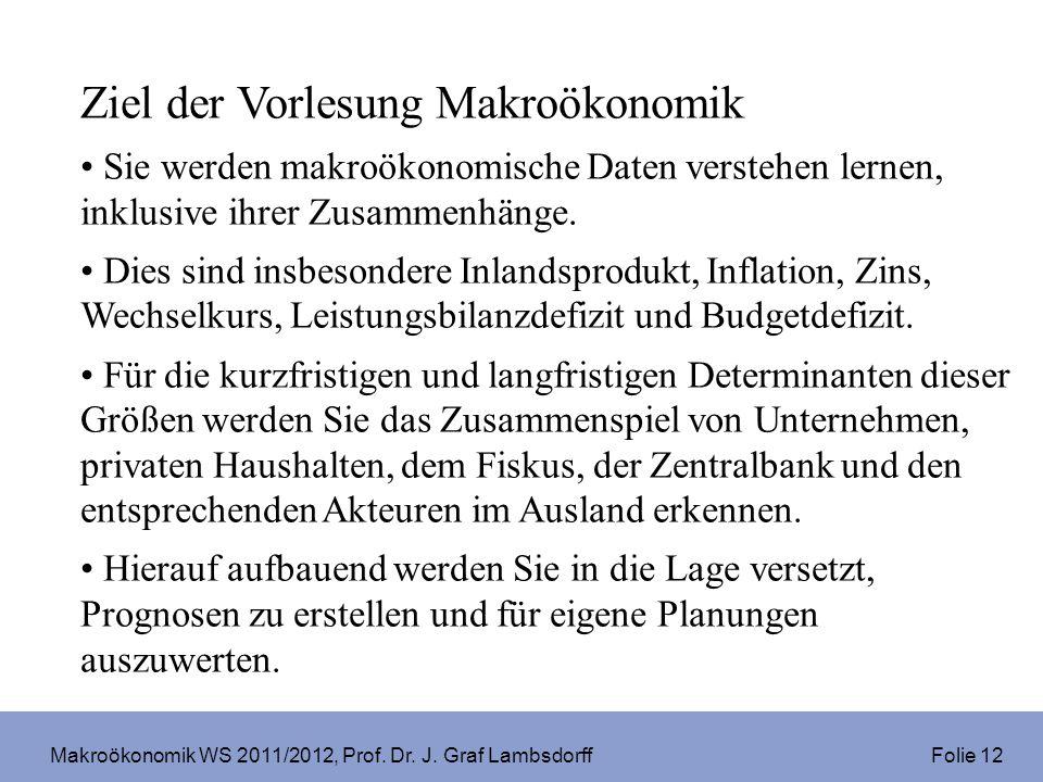Makroökonomik WS 2011/2012, Prof. Dr. J. Graf Lambsdorff Folie 12 Ziel der Vorlesung Makroökonomik Sie werden makroökonomische Daten verstehen lernen,