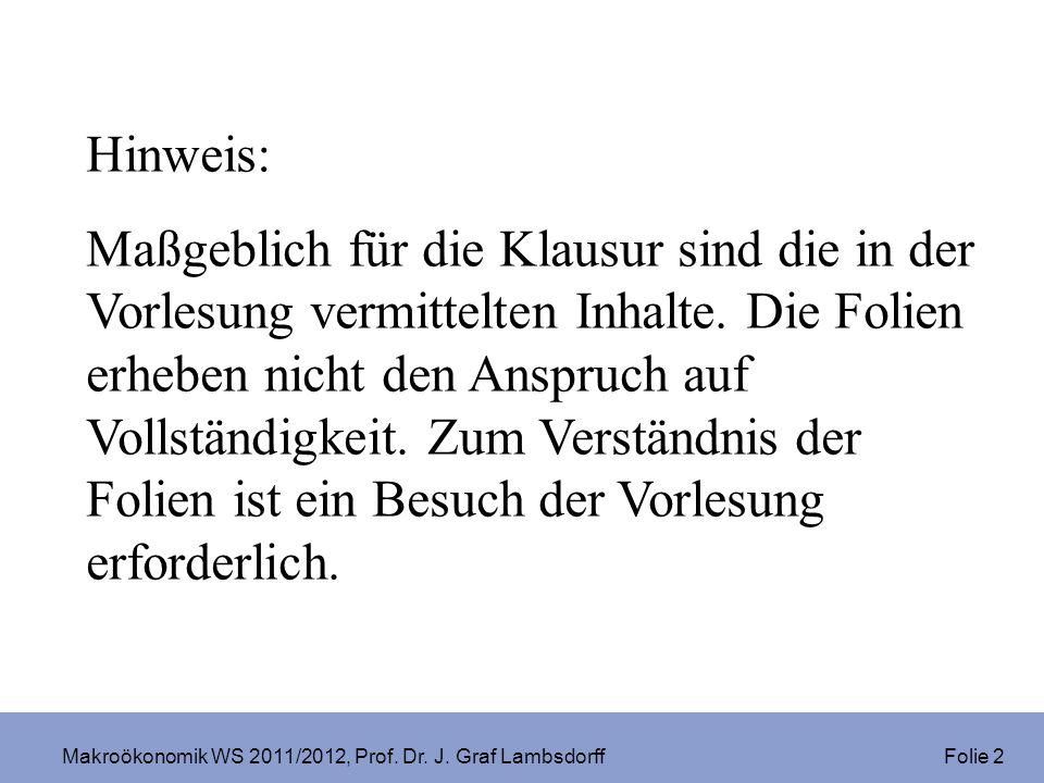 Makroökonomik WS 2011/2012, Prof. Dr. J. Graf Lambsdorff Folie 2 Hinweis: Maßgeblich für die Klausur sind die in der Vorlesung vermittelten Inhalte. D