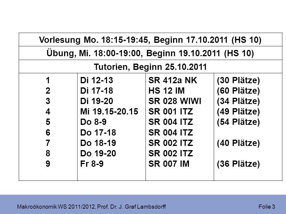 Makroökonomik WS 2011/2012, Prof. Dr. J. Graf Lambsdorff Folie 3 Vorlesung Mo. 18:15-19:45, Beginn 17.10.2011 (HS 10) Übung, Mi. 18:00-19:00, Beginn 1