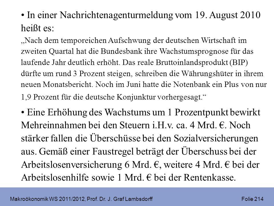 Makroökonomik WS 2011/2012, Prof. Dr. J. Graf Lambsdorff Folie 214 In einer Nachrichtenagenturmeldung vom 19. August 2010 heißt es: Nach dem temporeic