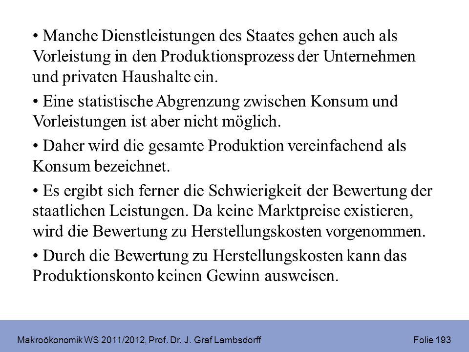 Makroökonomik WS 2011/2012, Prof. Dr. J. Graf Lambsdorff Folie 193 Manche Dienstleistungen des Staates gehen auch als Vorleistung in den Produktionspr