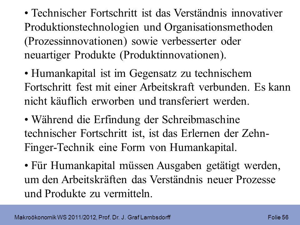 Makroökonomik WS 2011/2012, Prof. Dr. J. Graf Lambsdorff Folie 56 Technischer Fortschritt ist das Verständnis innovativer Produktionstechnologien und