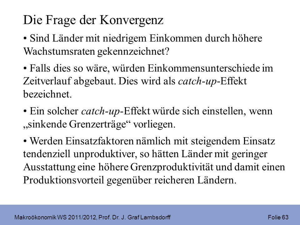 Makroökonomik WS 2011/2012, Prof. Dr. J. Graf Lambsdorff Folie 63 Die Frage der Konvergenz Sind Länder mit niedrigem Einkommen durch höhere Wachstumsr