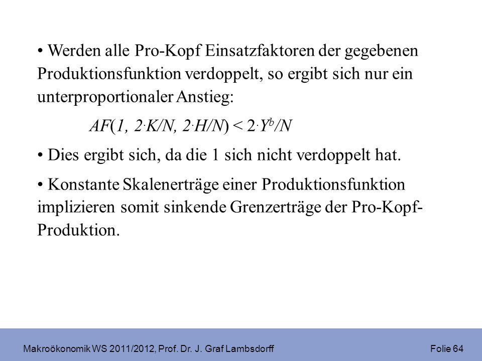 Makroökonomik WS 2011/2012, Prof. Dr. J. Graf Lambsdorff Folie 64 Werden alle Pro-Kopf Einsatzfaktoren der gegebenen Produktionsfunktion verdoppelt, s