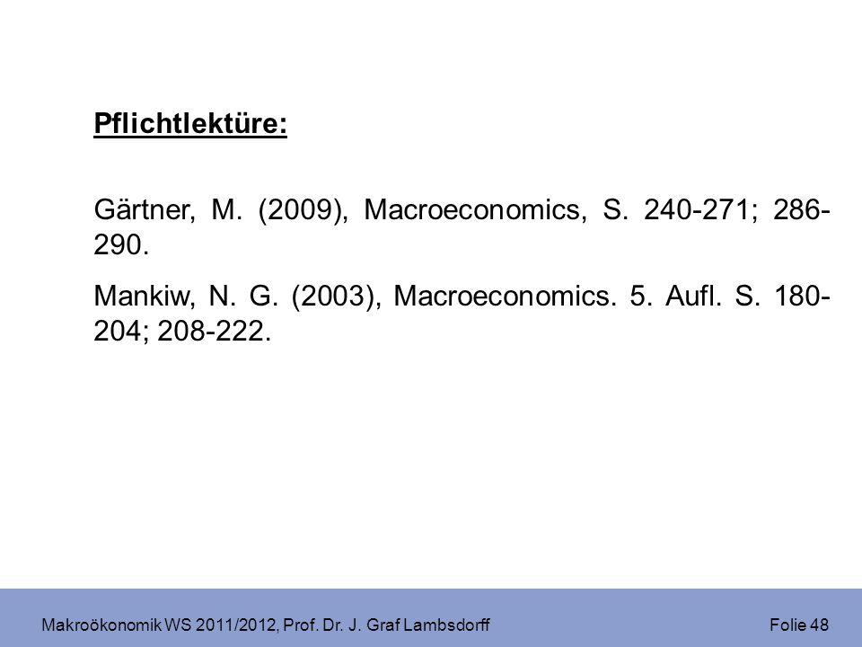 Makroökonomik WS 2011/2012, Prof. Dr. J. Graf Lambsdorff Folie 48 Pflichtlektüre: Gärtner, M. (2009), Macroeconomics, S. 240-271; 286- 290. Mankiw, N.