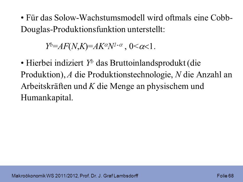 Makroökonomik WS 2011/2012, Prof. Dr. J. Graf Lambsdorff Folie 68 Für das Solow-Wachstumsmodell wird oftmals eine Cobb- Douglas-Produktionsfunktion un