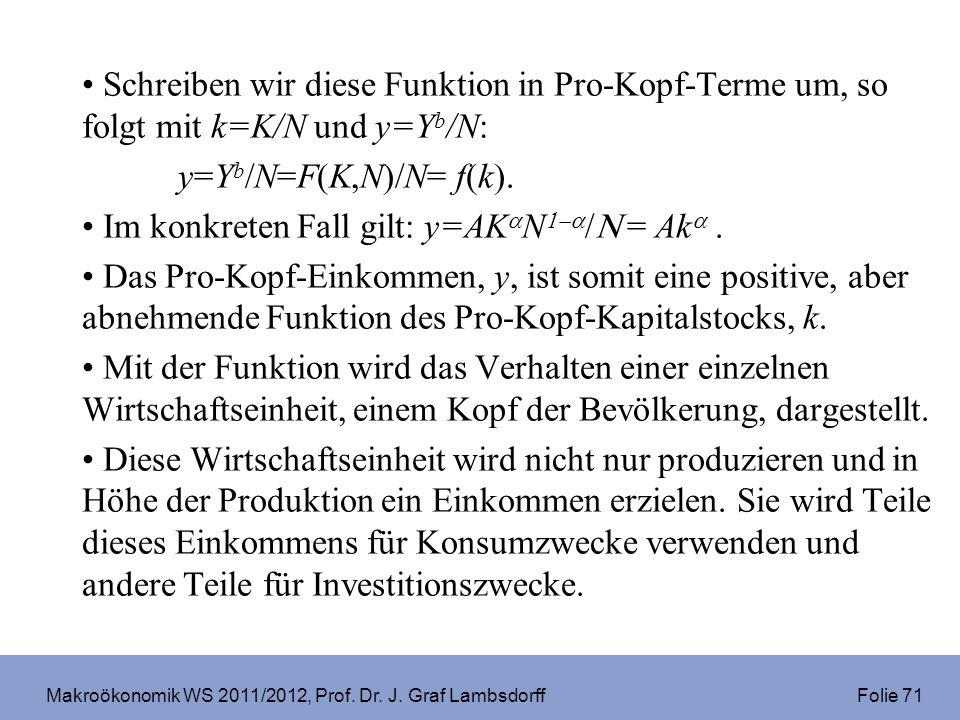 Makroökonomik WS 2011/2012, Prof. Dr. J. Graf Lambsdorff Folie 71 Schreiben wir diese Funktion in Pro-Kopf-Terme um, so folgt mit k=K/N und y=Y b /N: