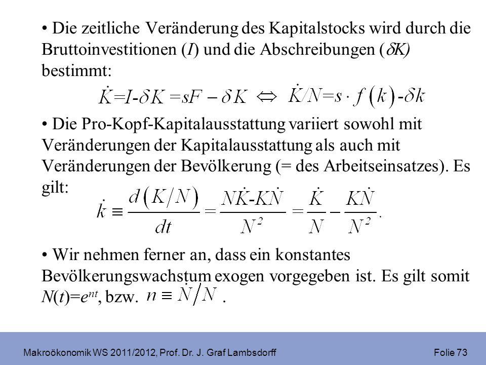 Makroökonomik WS 2011/2012, Prof. Dr. J. Graf Lambsdorff Folie 73 Die zeitliche Veränderung des Kapitalstocks wird durch die Bruttoinvestitionen (I) u