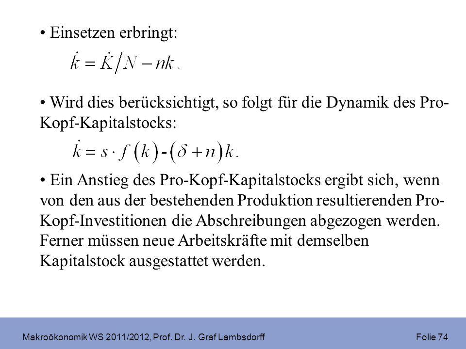 Makroökonomik WS 2011/2012, Prof. Dr. J. Graf Lambsdorff Folie 74 Einsetzen erbringt: Wird dies berücksichtigt, so folgt für die Dynamik des Pro- Kopf