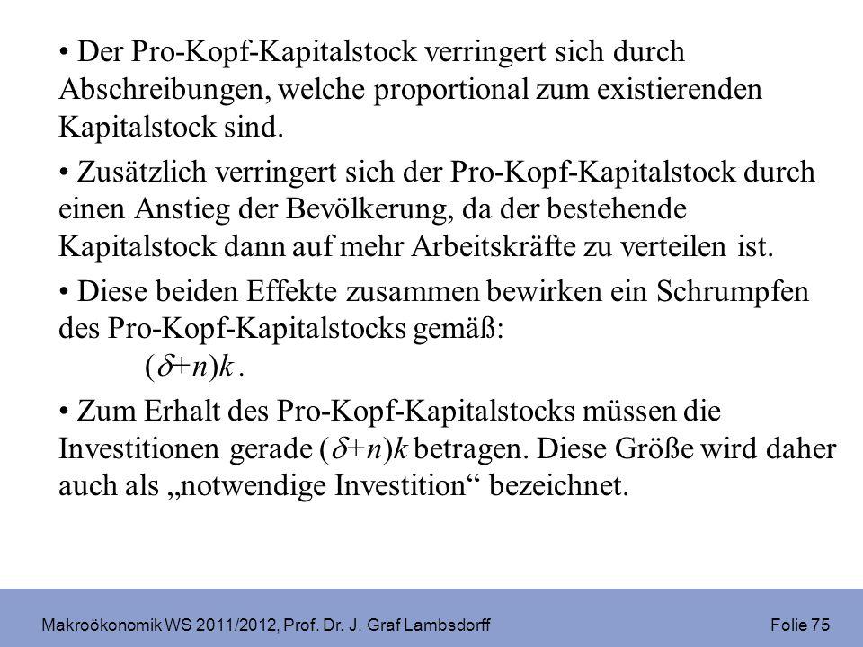 Makroökonomik WS 2011/2012, Prof. Dr. J. Graf Lambsdorff Folie 75 Der Pro-Kopf-Kapitalstock verringert sich durch Abschreibungen, welche proportional