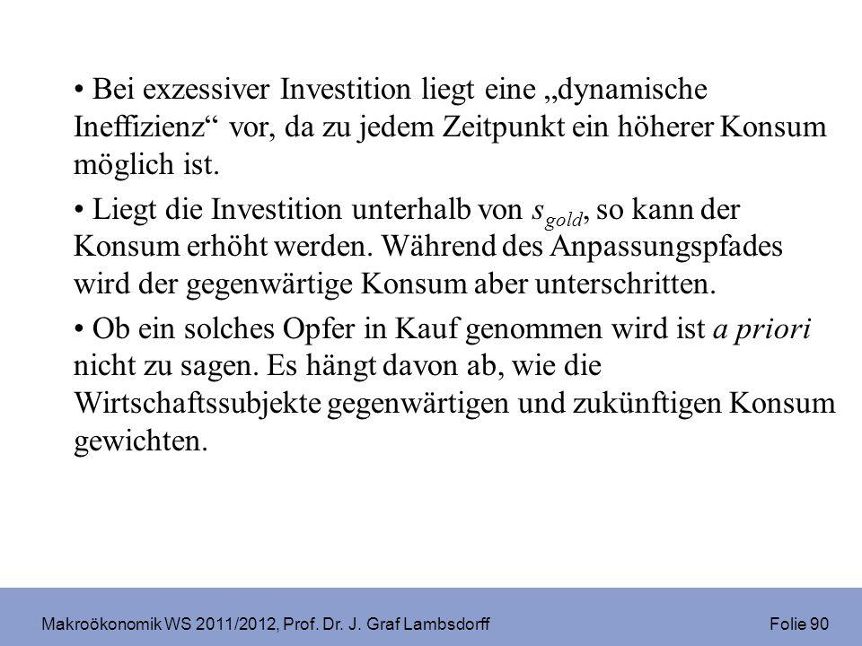 Makroökonomik WS 2011/2012, Prof. Dr. J. Graf Lambsdorff Folie 90 Bei exzessiver Investition liegt eine dynamische Ineffizienz vor, da zu jedem Zeitpu