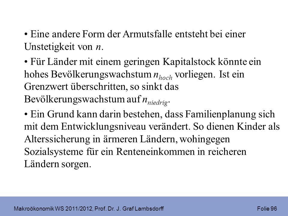Makroökonomik WS 2011/2012, Prof. Dr. J. Graf Lambsdorff Folie 96 Eine andere Form der Armutsfalle entsteht bei einer Unstetigkeit von n. Für Länder m