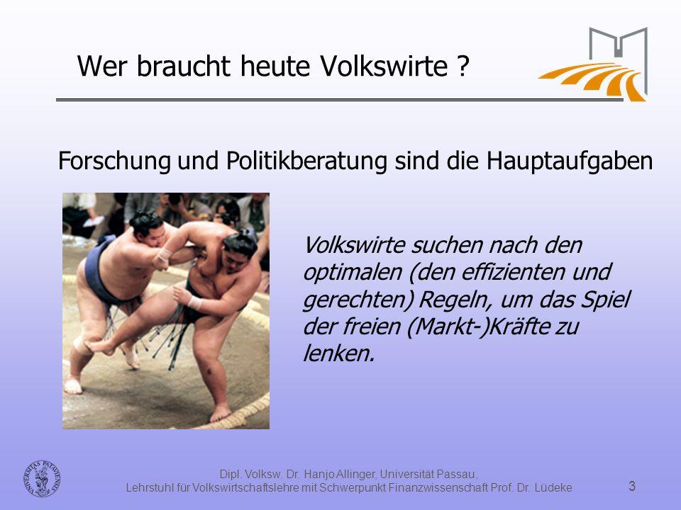 Dipl. Volksw. Dr. Hanjo Allinger, Universität Passau, Lehrstuhl für Volkswirtschaftslehre mit Schwerpunkt Finanzwissenschaft Prof. Dr. Lüdeke 3 Forsch