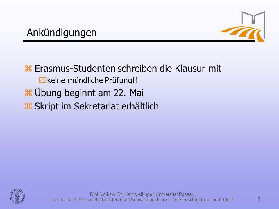 Dipl. Volksw. Dr. Hanjo Allinger, Universität Passau, Lehrstuhl für Volkswirtschaftslehre mit Schwerpunkt Finanzwissenschaft Prof. Dr. Lüdeke 2 Ankünd