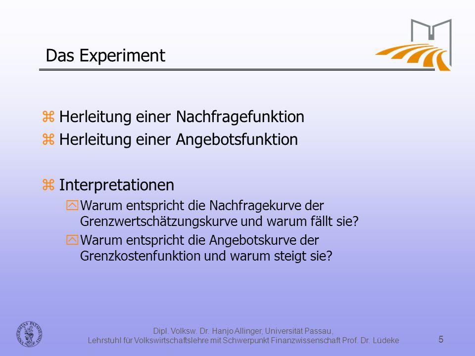 Dipl. Volksw. Dr. Hanjo Allinger, Universität Passau, Lehrstuhl für Volkswirtschaftslehre mit Schwerpunkt Finanzwissenschaft Prof. Dr. Lüdeke 5 Das Ex
