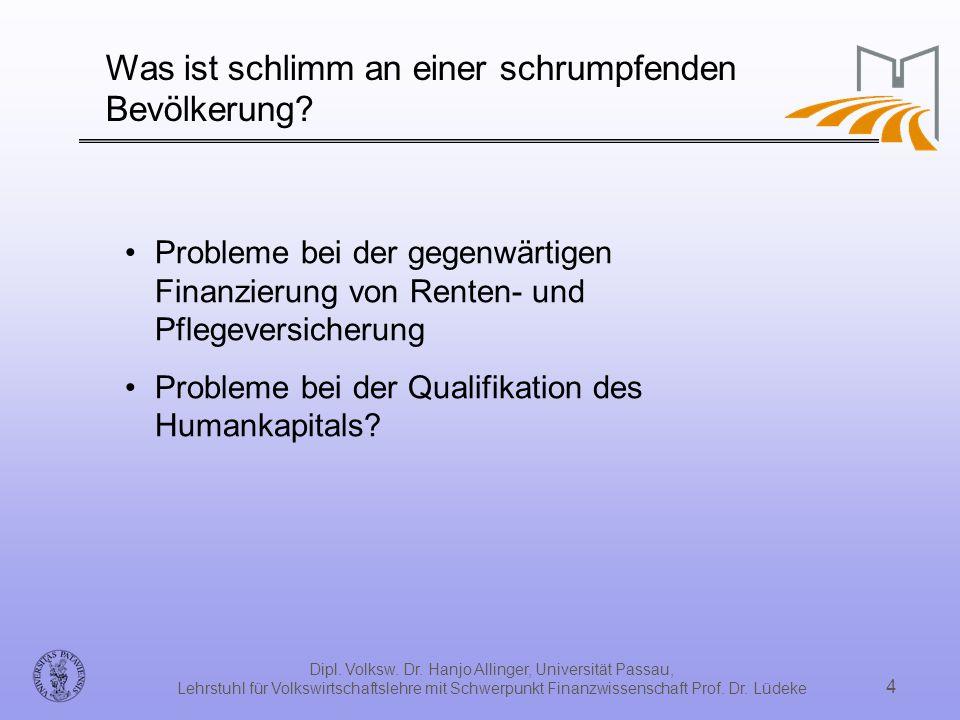 Dipl. Volksw. Dr. Hanjo Allinger, Universität Passau, Lehrstuhl für Volkswirtschaftslehre mit Schwerpunkt Finanzwissenschaft Prof. Dr. Lüdeke 4 Was is